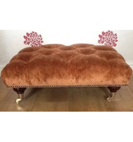 A Quality Deep Buttoned Footstool In Laura Ashley Caitlyn Copper Fabric