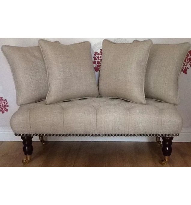 Long Buttoned Footstool Stool & 4 Cushions In Laura Ashley Dalton Natural Fabric