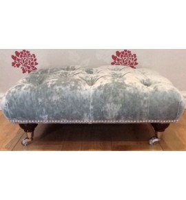 A Quality Deep Buttoned Footstool In Laura Ashley Caitlyn Duck Egg Fabric