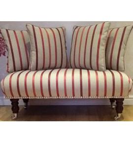 Long Footstool Stool & 4 Cushions Laura Ashley Luxford Cranberry Stripe Fabric