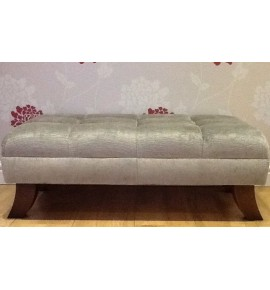A Quality Buttoned Footstool In Laura Ashley Villandry French Grey Fabric