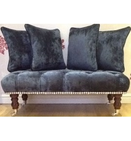 Long Deep Buttoned Footstool & Cushions Laura Ashley Caitlyn Midnight Fabric