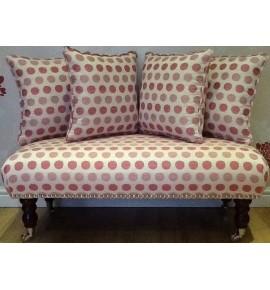 Long Footstool Stool & 4 Cushions Laura Ashley Toby Spot Cerise Fabric
