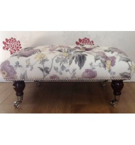 A Deep Buttoned Footstool / Stool In Laura Ashley Peony Amethyst Fabric