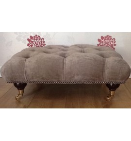 A Quality Deep Buttoned Footstool / Stool In Laura Ashley Matilda Truffle Fabric