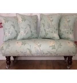 Long Footstool Stool & 4 Cushions Laura Ashley Summer Palace Eau De Nil Fabric