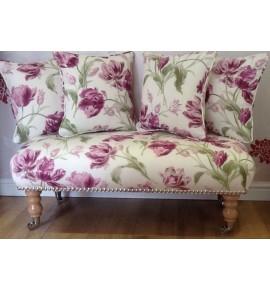 Long Footstool Stool & 4 Cushions Laura Ashley New Gosford Berry Fabric