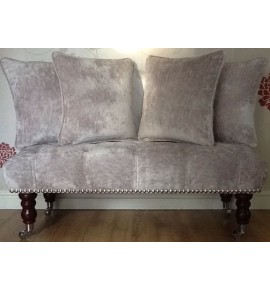 Long Deep Buttoned Footstool & Cushions Laura Ashley Caitlyn Amethyst Fabric