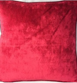 A 16 Inch Cushion Cover In Laura Ashley Caitlyn Cranberry Velvet Fabric