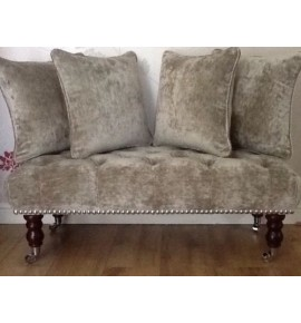 Long Deep Buttoned Footstool & Cushions Laura Ashley Caitlyn Silver Fabric