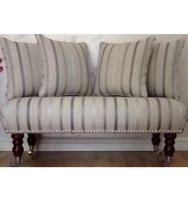 Long Footstool Stool & 4 Cushions Laura Ashley Luxford Dove Grey Stripe Fabric