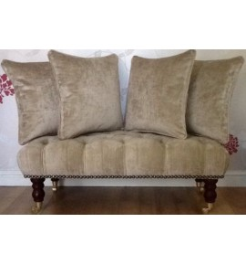 Quality Deep Buttoned Long Footstool In Laura Ashley Villandry Champagne Fabric