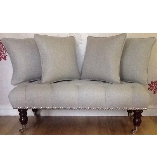 Long Buttoned Footstool Stool 4 Cushions In Laura Ashley Dalton Dove Grey Fabric