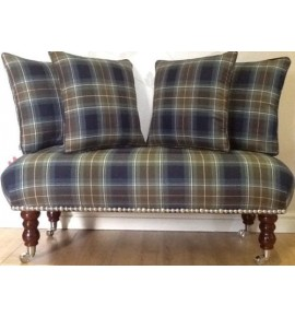 Long Footstool Stool & 4 Cushions Laura Ashley Tartan Midnight Fabric