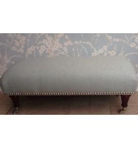 A Quality Long Footstool In Laura Ashley Tamarind Burgundy Fabric
