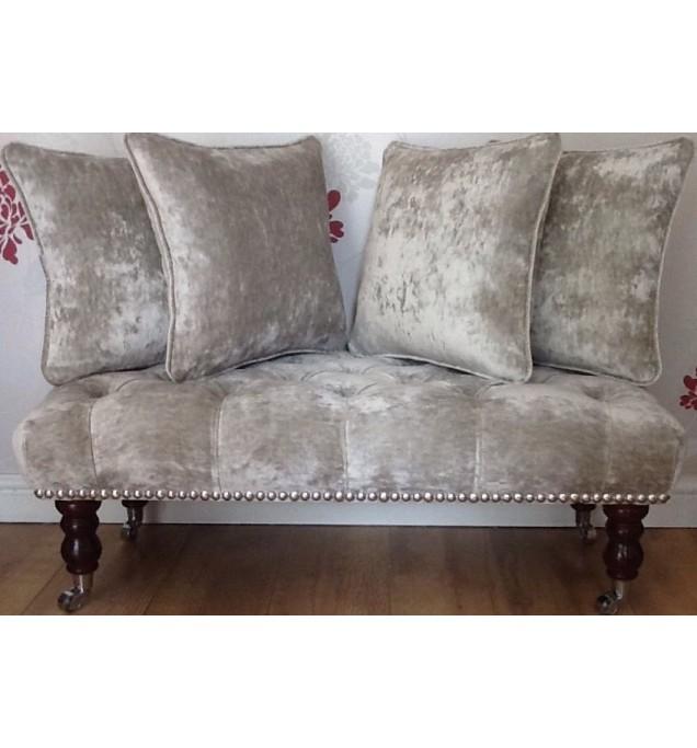 Long Deep Buttoned Footstool & Cushions Laura Ashley Caitlyn Sable Fabric